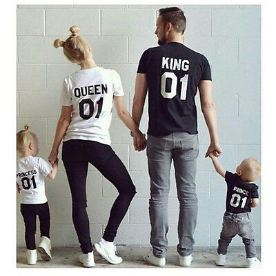 Family Couple King Queen Princess Prince Love Matching Tee Shirts Casual T-Shirt