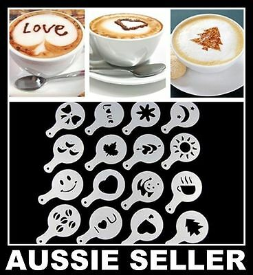16pcs Coffee Stencils Template Espresso Cappuccino Hot Chocolate Designs Barista