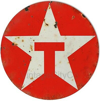 """Antique Style """"Texaco - 1981 Logo"""" Gasoline / Motor Oil Metal Sign - Rusted"""
