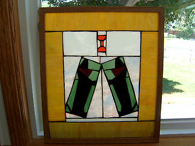 Dachshund Dog Stain Glass Art Framed, Oak, Hanging Chain, Hot Dog