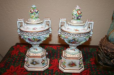 Antique Carl Theime/Meissen (?) Ornate Pair of Urns
