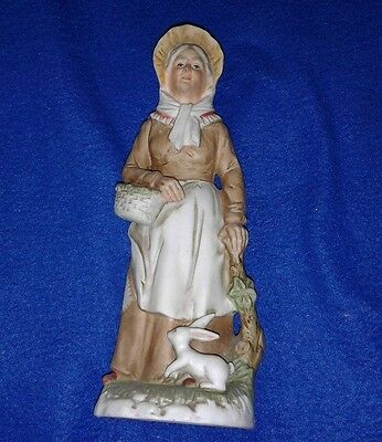 "HOMCO Home Interiors Old Woman with Basket and Rabbit 8"" Porcelain Figurine 1409"