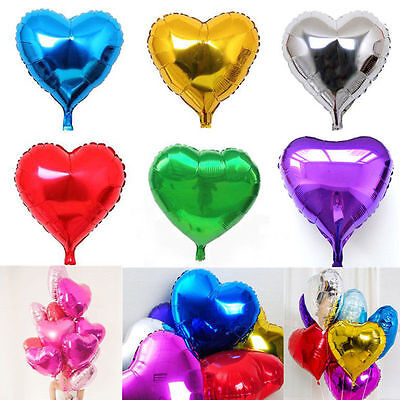 5pc Colorful Heart Love Foil Helium Balloons Valentines Wedding Engagement Party