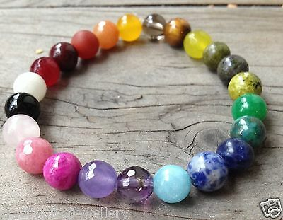 ॐ Crystal Bliss ॐ Chakra Clearing Balancing Gemstone,Reiki Charged,Yoga Bracelet