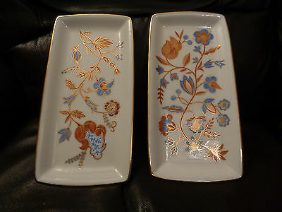 2 x hand painted studioware rectangle serving plates C1970 Painted by H Ashworth
