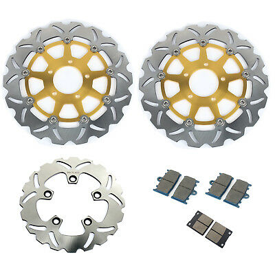 3pcs Front Rear Brake Disc Rotor + Pads For GSXR600 GSXR750 00 01 02 03 TL1000S