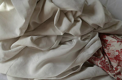 "Antique French pure heavy floppy linen sheet, 89"" wide, white LA monogram"