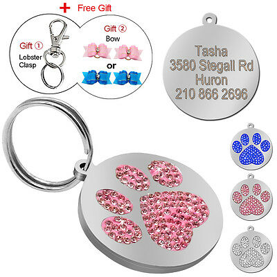 Round Paw Print Engraved Dog Tags Bling Pet Puppy Name ID Tag Engraved Free Bows