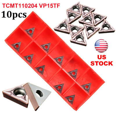 10pcs TCMT110204 VP15TF / TCMT21.51 VP15TF Carbide Insert Lathe Turning Tool, US