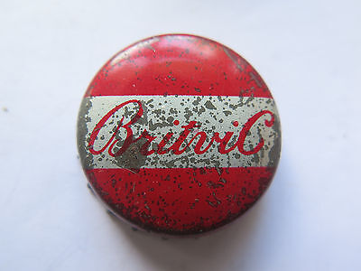 CROWN SEAL BOTTLE CAP BRITVIC GREAT BRITAIN SOFT DRINK RED USED c1960s