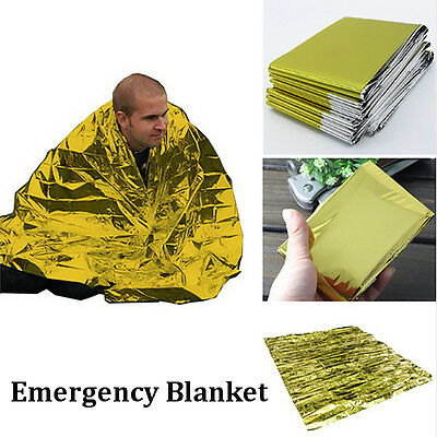 2PCS Outdoor Emergency Waterproof Thermal Survival Blanket Rescue First-Aid Camp