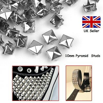 100 Metal Punk Rock Leather Bag Shoe Pyramid Prong Studs CRAFT Biker Goth 10mm