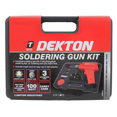 Electric Electrical Solder Soldering Iron Gun Kit 230V - 2 Spare Tips Case Box