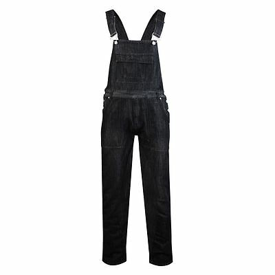 KAM Mens Denim Dungarees in Black (403) in Size 40 to 60 Inches