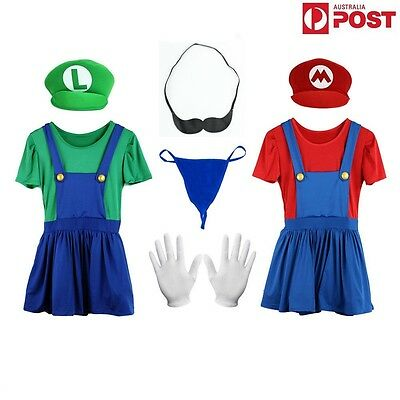 Super Mario and Luigi Costumes Adult Womens Plumber Bros Halloween Fancy Dress