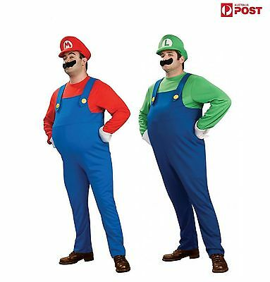 Adult Mens Super Mario and Luigi Bros Fancy Dress Plumber Halloween Costume AU