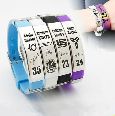 Basketball Star Punk Bracelet adjustable Silicone Rubber Wristband Strap Cuff