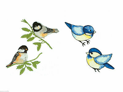 Birds Appliqués Blue Birds Embroidered Iron On (Packs of 2) Motif Patches Craft