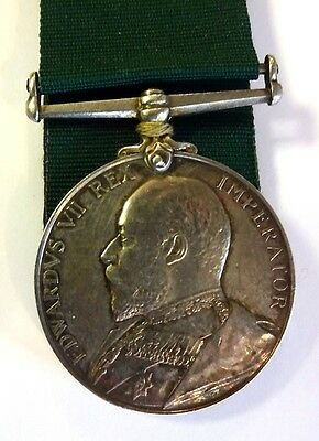 King Edward VII Silver Volunteer Long Service & Good Conduct  -  Un-named Army