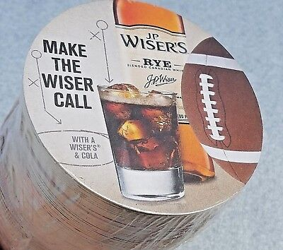 J.P. Wiser's & Cola Canadian Rye Whiskey 125 Cardboard Coasters Football Cup Mat