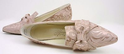 Vintage 60s Saugus Shoes pink silk moire court heel bow wedding formal 7.5 M