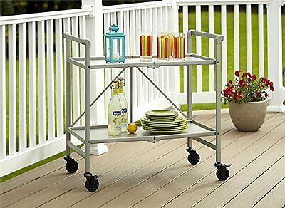 Serving Cart Patio Folding Rolling Bar Portable Tray Kitchen Storage Outdoor