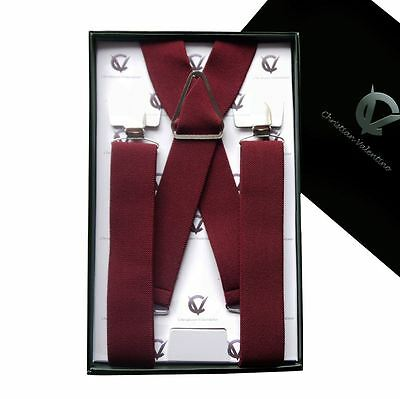 Men's Burgundy X3.5cm Braces Suspenders Mens