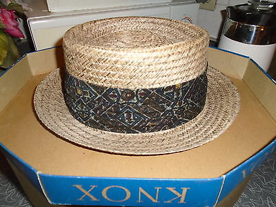 Vintage Knox Straw Hat Size 7 1-/4 w/Box Woolf Brothers