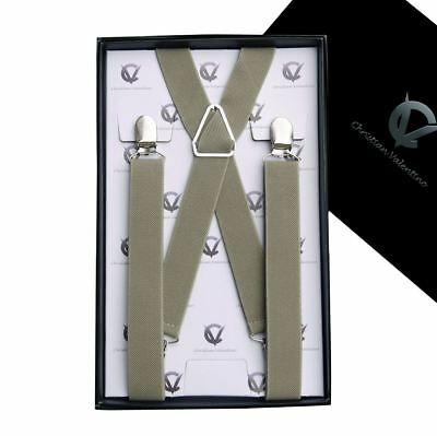 Men's Khaki X2.5cm Braces Suspenders Mens