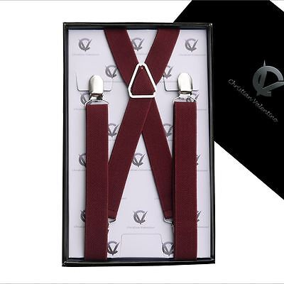 Men's Burgundy X2.5cm Extra Large Braces Suspenders Mens