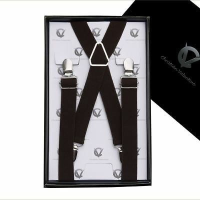 Men's Dark Brown X2.5cm Extra Large Braces Suspenders Mens