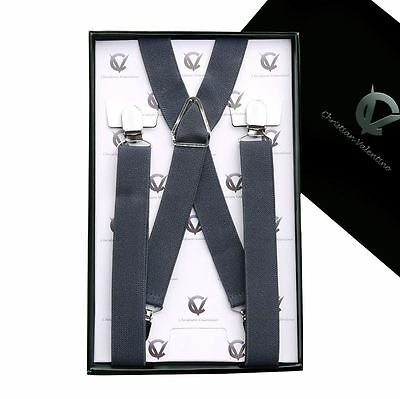Men's Dark Grey X2.5cm Extra Large Braces Suspenders Mens