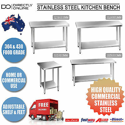 Commercial Kitchen Bench Stainless Steel 304 & 430 Food Grade Business or Home