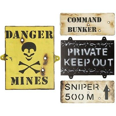 Military Wooden Wall Sign Bunker Sniper Keep Out Mines Kids Army Den Bedroom