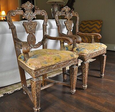 Pair of Italian Carved Giltwood Armchairs, 19th Century