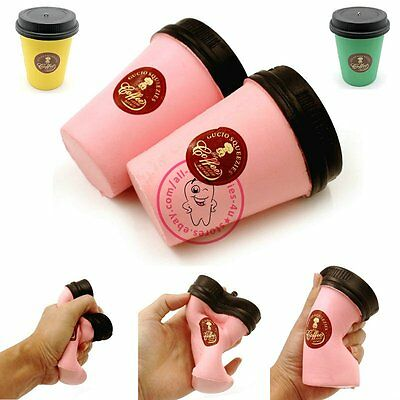 Cute Squishy Slow Rising Jumbo 11CM Coffee Cup Phone Strap Kids Fun Toy Gift