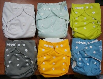 Baby Cloth Diapers,Washable Reusable,breathable, Adjustable Snap, 6 Pack (B348)