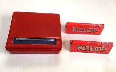Automatic Rolling Machine Tobacco Case Tin Roller RED + 2 RIZLA RED Booklets
