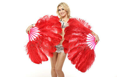 """A pair red Single layer Ostrich Feather fans 24"""" x 41"""" with carrying box"""
