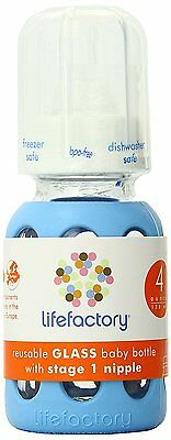 Lifefactory 4-Ounce BPA-Free Glass Baby Bottle with Protective Silicone Sleeve 1