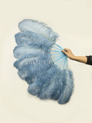 """A pair baby blue Single layer Ostrich Feather fan 24"""" x 41"""" with carrying box"""