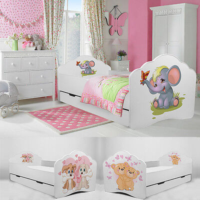 LIMITED SALE Toddler Children Kids Bed with Mattress Drawer 140x70 or 160x80