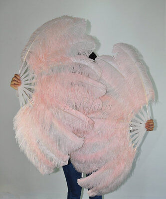 """A pair Blush Single layer Ostrich Feather fans 24"""" x 41"""" with carrying box"""
