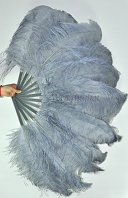"""A pair gray Single layer Ostrich Feather fans 24"""" x 41"""" with carrying box"""