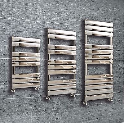 Designer Flat Panel Chrome Heated Towel Rail Radiator Premium Bathroom Chrome