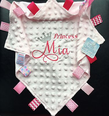 Baby Personalised Comforter Unique Princess/Prince Minky Blankie Baby Name Gift