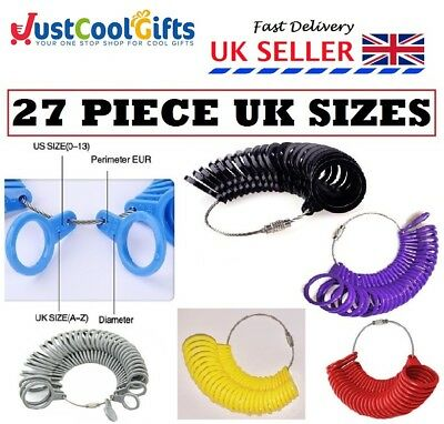 New British Finger Sizer Ring Gauge Measure Uk Seller Sizes A-Z Plastic 27 Piece