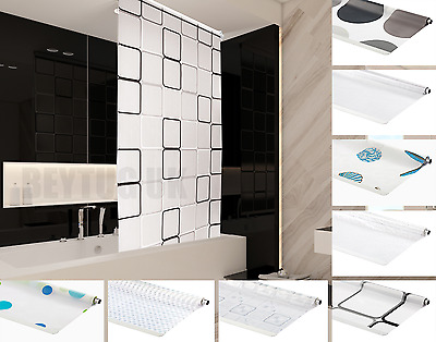 Bathroom Shower Curtain Roller Blinds Extra Long , 4 Width Sizes, Many Designs