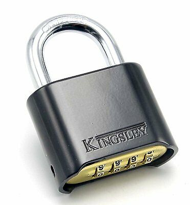 Resettable 4 Dial Combo Lock (Combination Padlock) Hardened Steel Shackle