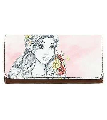 Disney Parks Belle Beauty And The Beast Watercolor Wallet By Loungefly NEW